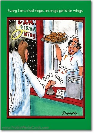 Funny Bell Rings Angel Wings Cartoon Joke Picture