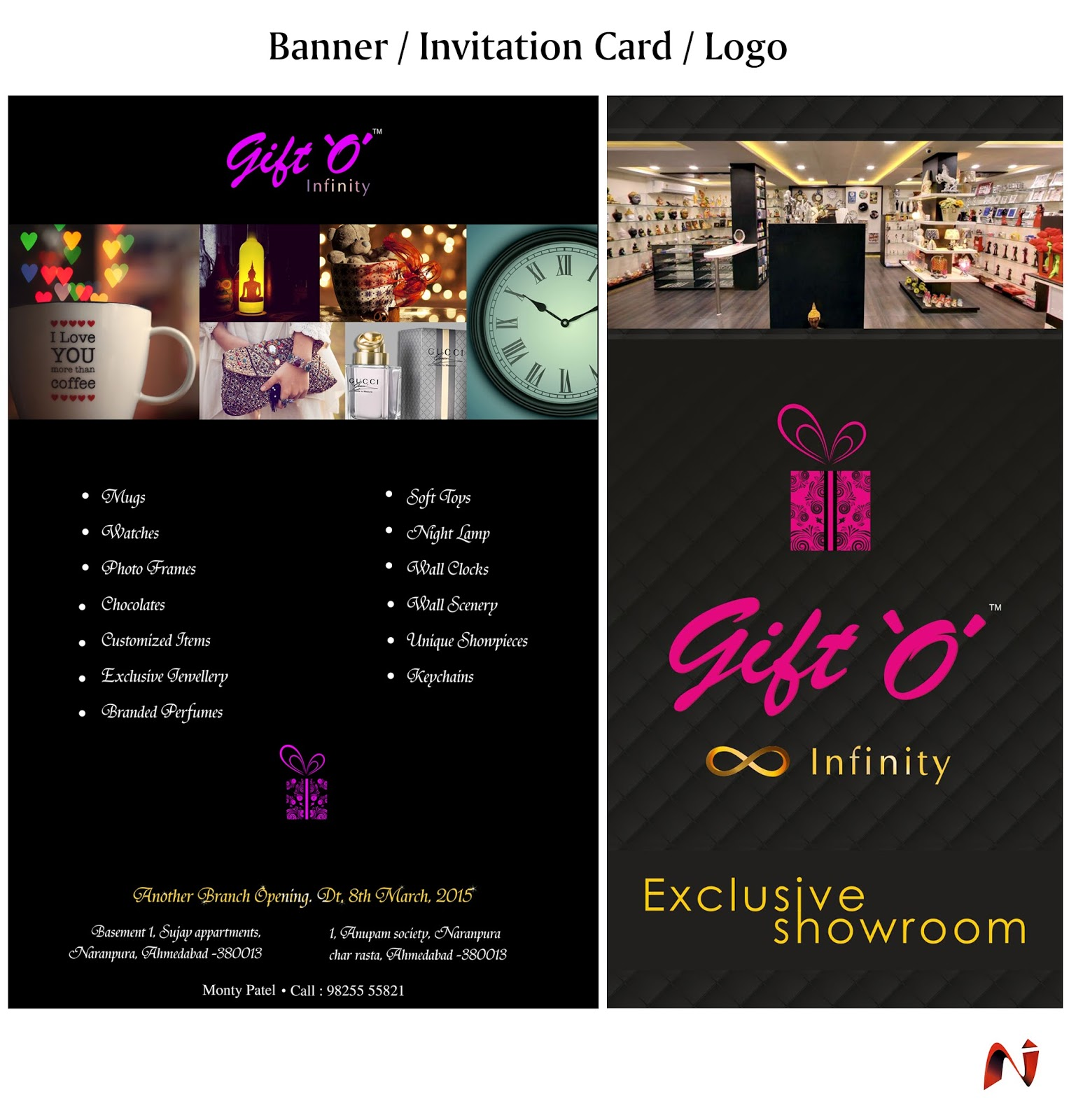 N Sarg S Gallery Banner Invitation Cards Logo Bags Design