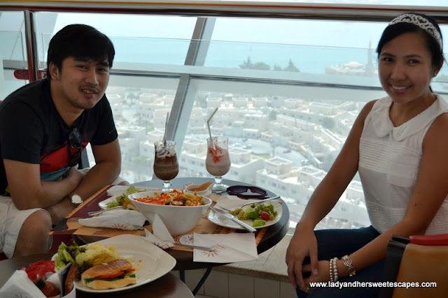 Lady and Ed in Abu Dhabi Marina Mall Sky Tower