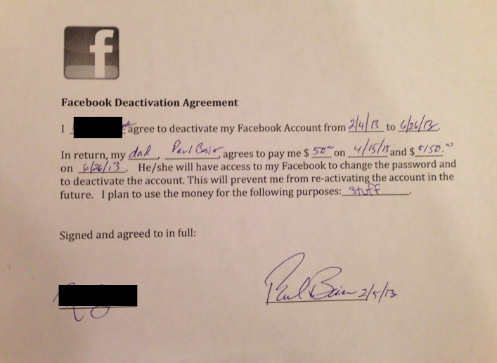 facebook deactivation agreement by paul baier