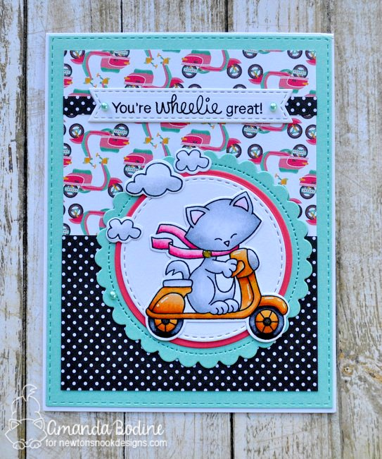 You're Wheelie Great - Cat on Scooter card by Amanda Bodine | Newton Scoots By Stamp Set by Newton's Nook Designs #newtonsnook