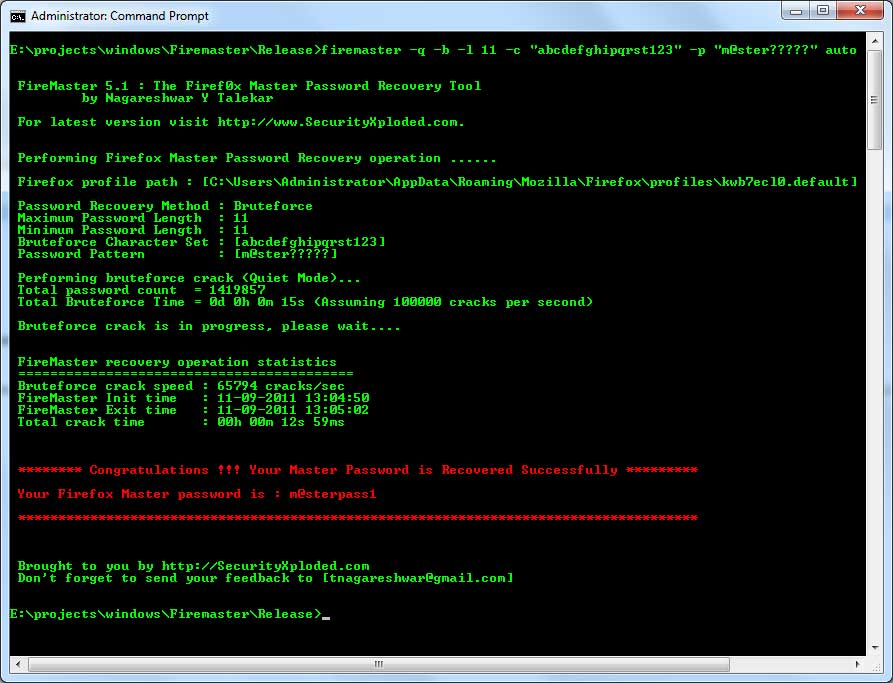 FireMaster - The Firefox Master Password Cracking Tool
