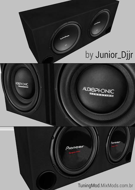 gta sa modelo alto-falantes caixas dutadas audiophonic pioneer baixar
