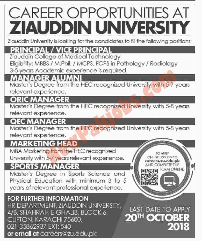 Latest Jobs 2018 in Ziauddin University Karachi