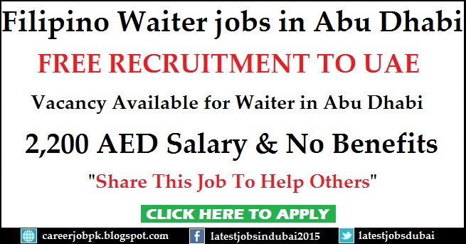 Filipino Waiter jobs in Abu Dhabi