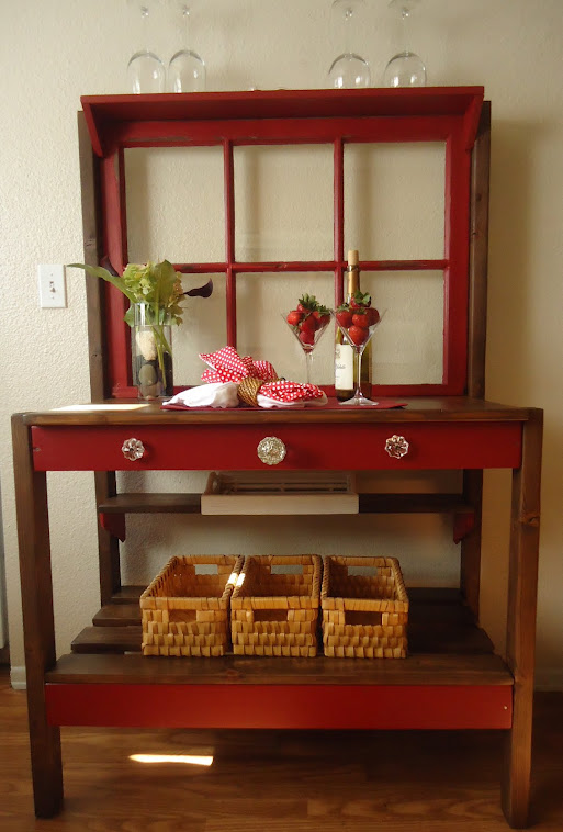 1950s Window Table in Barn Red with Vintage Hardware-SOLD