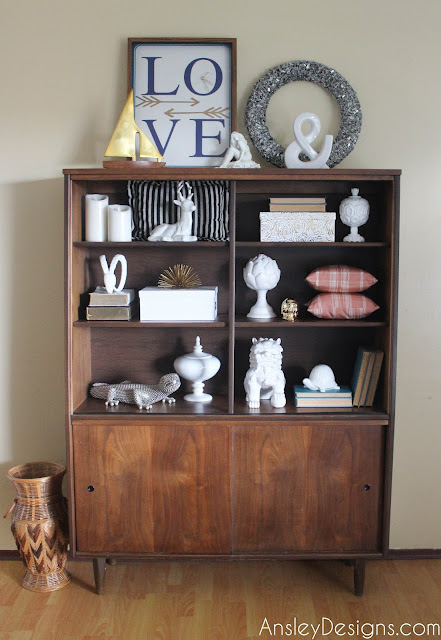 Mid-century modern hutch! MCM bookcase styling!