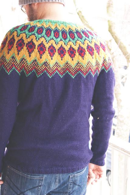 Chandail tricoté pour homme avec col en jacquard - vue de dos