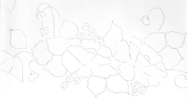 risco pintura em tecido pano de prato papoula vermelha