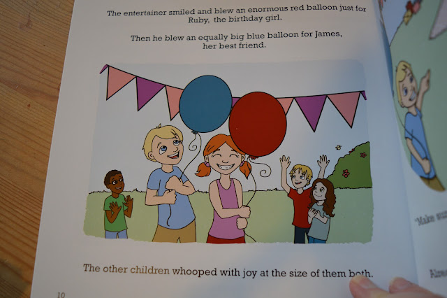 A page insidea book with two children laughing and holding balloons. Bunting and people in the background.