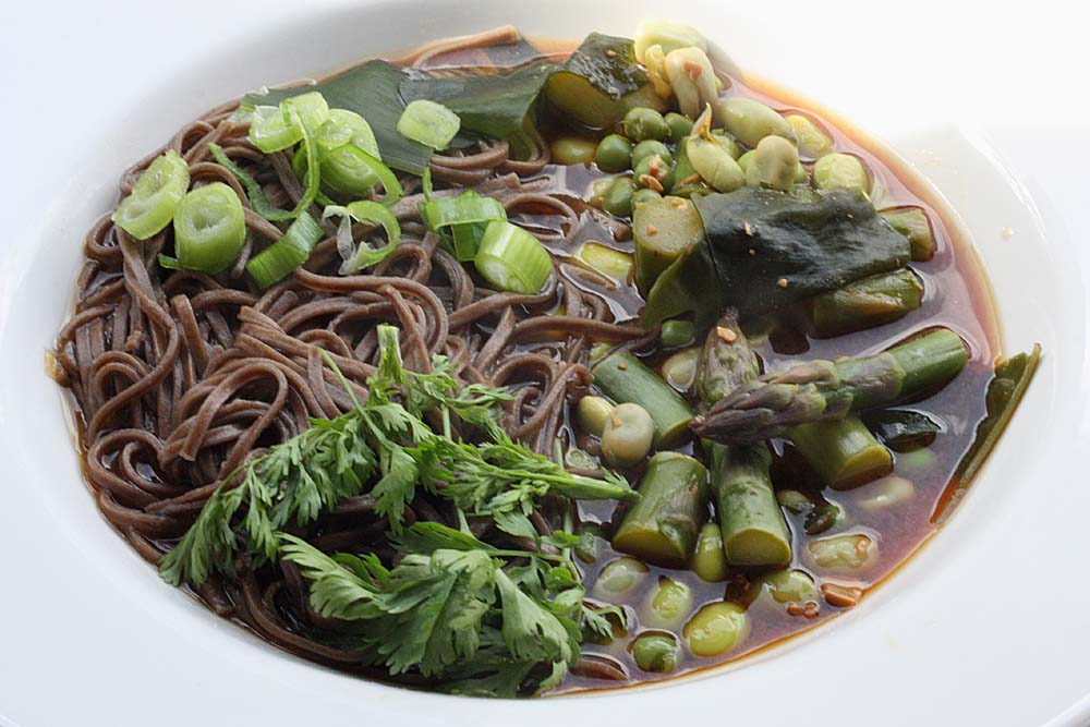 ... Seasonal Veg Table: Buckwheat Soba Noodles Drowning in Miso and Greens