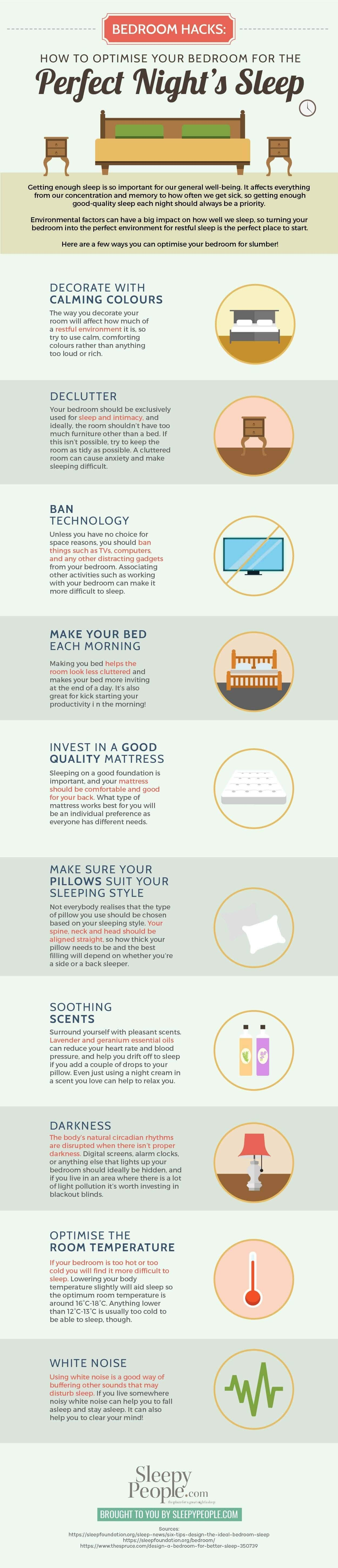 Bedroom Hacks: How To Optimise Your Bedroom For The Perfect Night's Sleep #Infographic