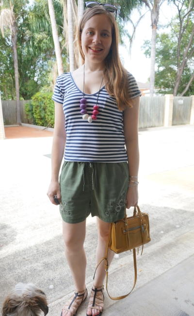 navy stripe tee, olive embroidered floral shorts yellow bag casual summer outfit | away from blue