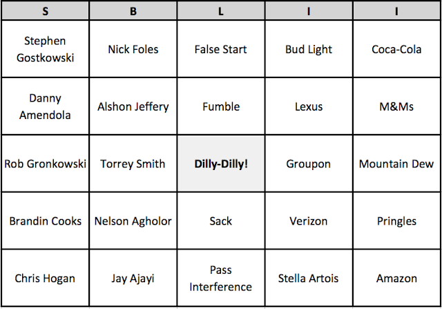 Patriots Eagles Super Bowl LII 52 Bingo