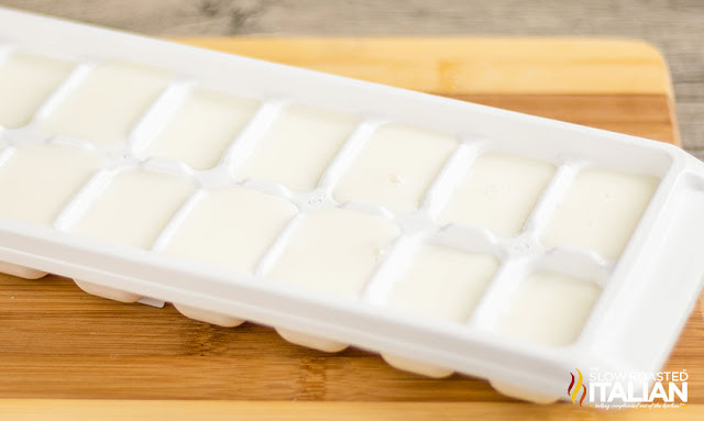 Milk in an ice cube tray