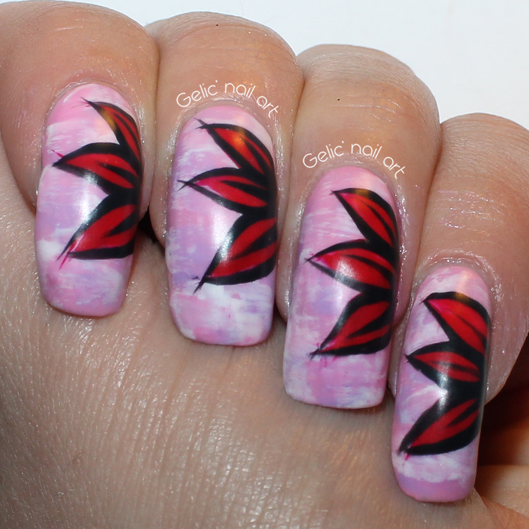 Gelic Nail Art Red Flower Nail Art On Pastel Pink Base