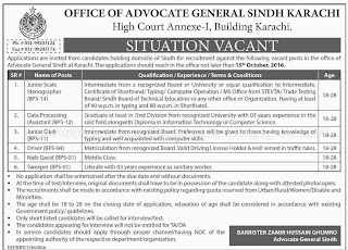 Karachi Office of the Advocate General Sindh Different Jobs