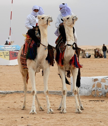 Two Bedouin men riding their camels.