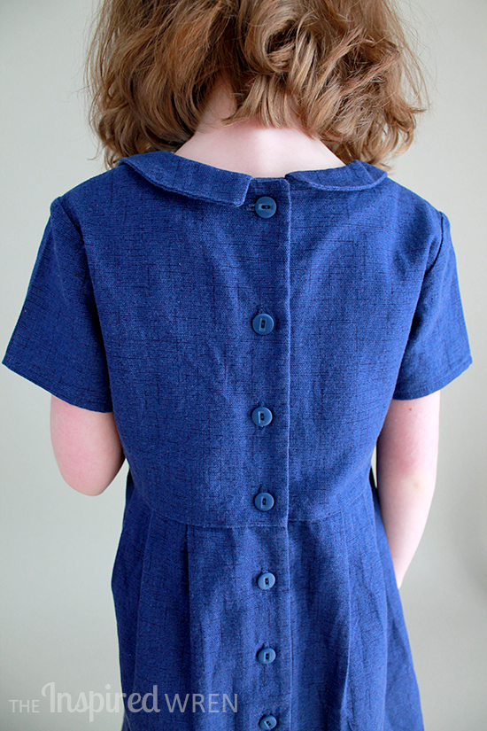Love the delicate buttons down the back. Oliver + S Library Dress in textured blue cotton | The Inspired Wren
