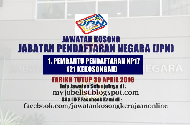 Jawatan Kosong Di Jabatan Pendaftaran Negara Jpn 30 April 2016