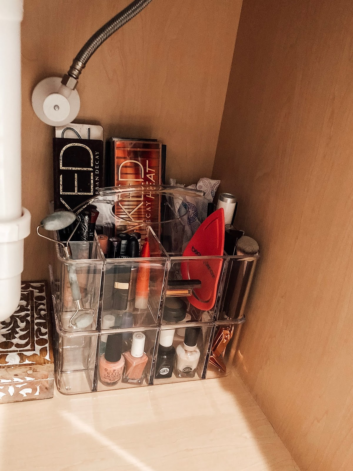 Clear makeup and nail polish organizer