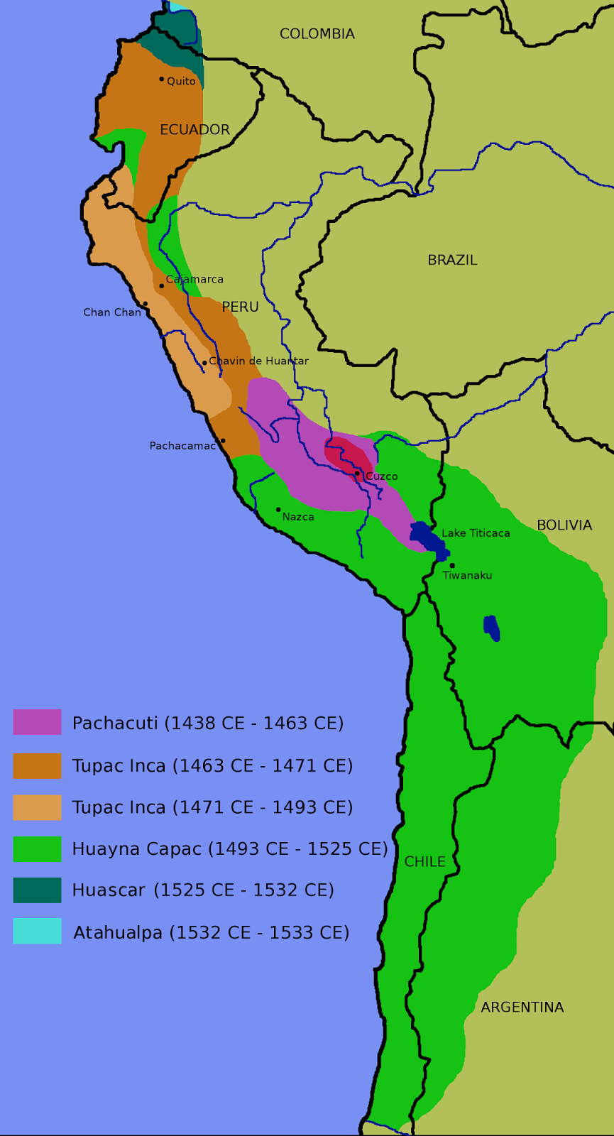 Map of the Incan Empire at its zenith before the Spanish Conquest in the 16th Century. Via Wikipedia Commons
