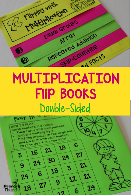 These 9 Multiplication Strategies Interactive Flip Books and anchor posters will help your students understand the concept of multiplication and help them memorize their multiplication tables. Each flip book follows the same format, so once your students learn how to do one, they can do the additional ones with greater independence.  Each flip book includes the 5 multiplication strategies:  • Equal Groups • Arrays • Repeated Addition • Skip-Counting • Related Facts
