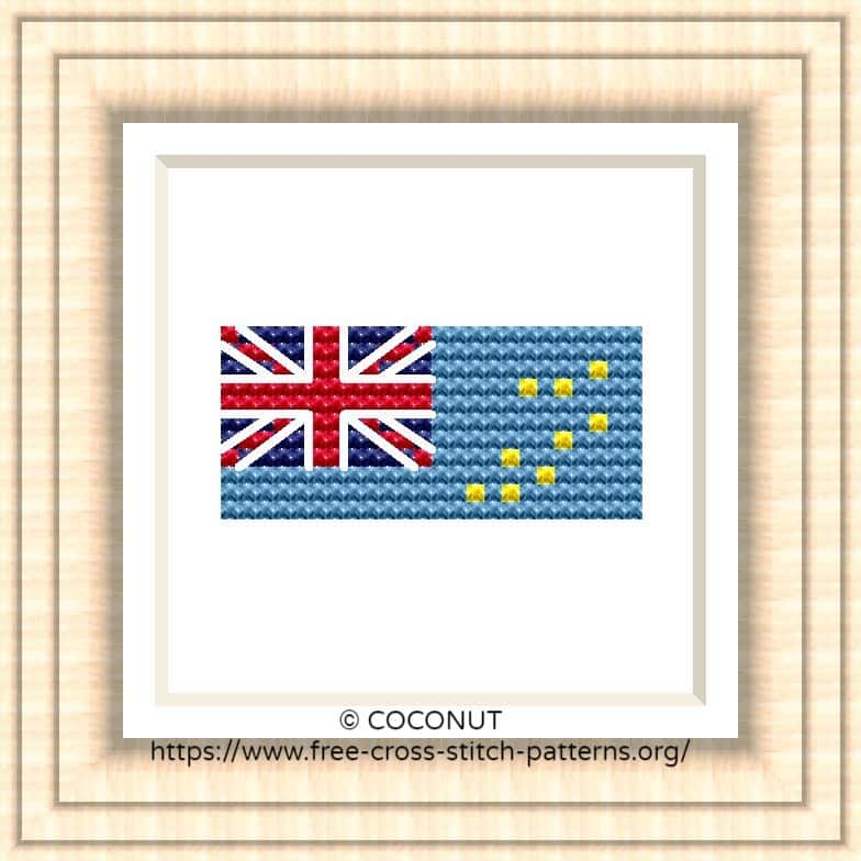 NATIONAL FLAG OF TUVALU CROSS STITCH CHART