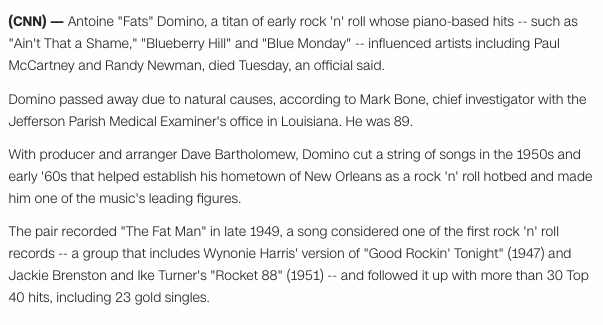 Free To Find Truth 44 53 67 76 68 89 241 Fats Domino Dead At 89