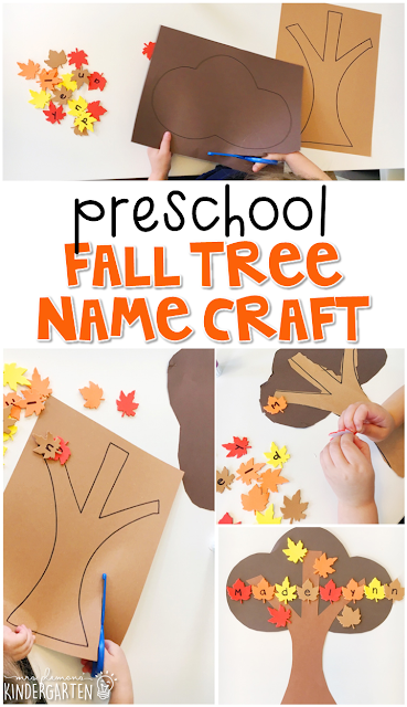 This fall tree name craftivity is fun for name writing, recognition, and fine motor practice with a fall theme. Great for tot school, preschool, or even kindergarten!