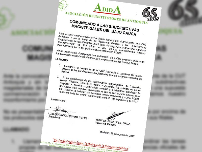 Comunicado a las subdirectivas magisteriales del bajo Cauca