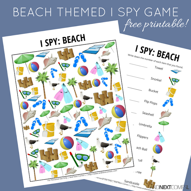 Free printable beach themed I Spy game for kids from And Next Comes L