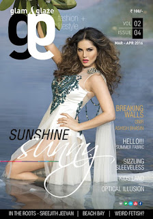 Sunny Leone Cover Page of Glam and Glaze magazine March April 2016