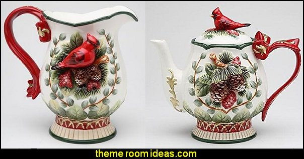 Evergreen Holiday Teapot with Red Cardinal  Evergreen Holiday Pitcher with Red Cardinal