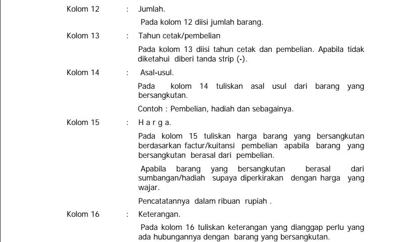 Panduan Cara Pengisian Kartu Inventaris Barang (Kib) E Aset TetapLainnya Hal-2 Inventaris Sekolah