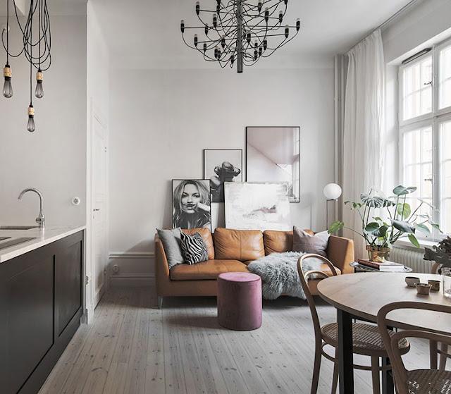 Amenajare feminină, cu accente maro, pentru un apartament de 39 m²