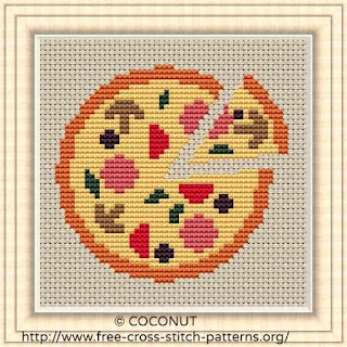 Pizza, Free and easy printable cross stitch pattern