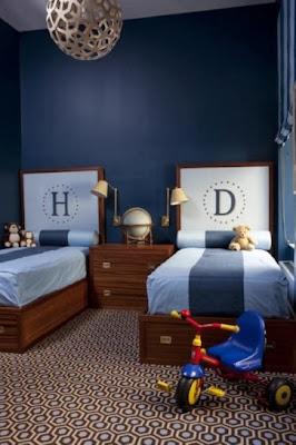 diseño de dormitorio para niños azul