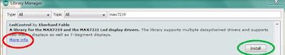 Fig. 4 - Selezione e installazione della libreria MAX72xx - Fonte Arduino IDE