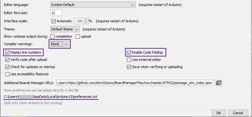 Dialogul Preferences din Arduino IDE