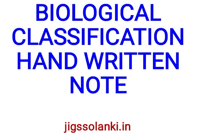 BIOLOGICAL CLASSIFICATION HAND WRITTEN NOTE
