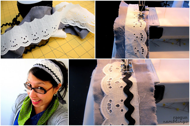 Quick and easy lace fabric headband tutorial - Rae Gun Ramblings #sewing #fashion #craft