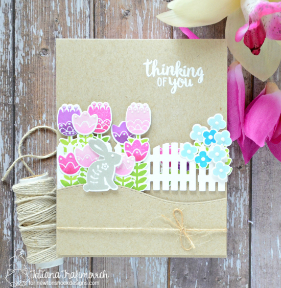 Spring Garden Card by Tatiana Trafimovich | Cottage Garden Stamp set by Newton's Nook Designs #newtonsnook