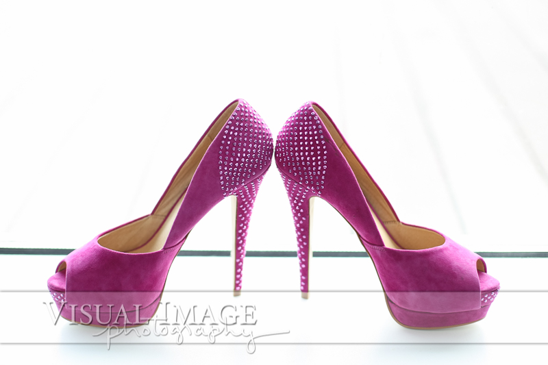 Pink high heeled shoes with diamonds