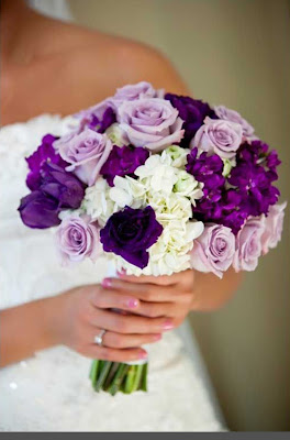wedding bouquet purple rose