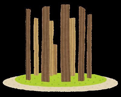環状木柱列のイラスト