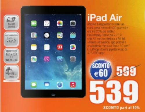 Sconto di 60 euro su Apple iPad Air 16GB 4G da Expert