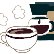 コーヒーメーカーとコーヒーカップのイラスト