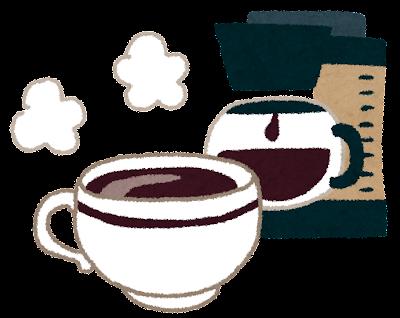 コーヒーのイラスト「コーヒーメーカーとコーヒーカップ」
