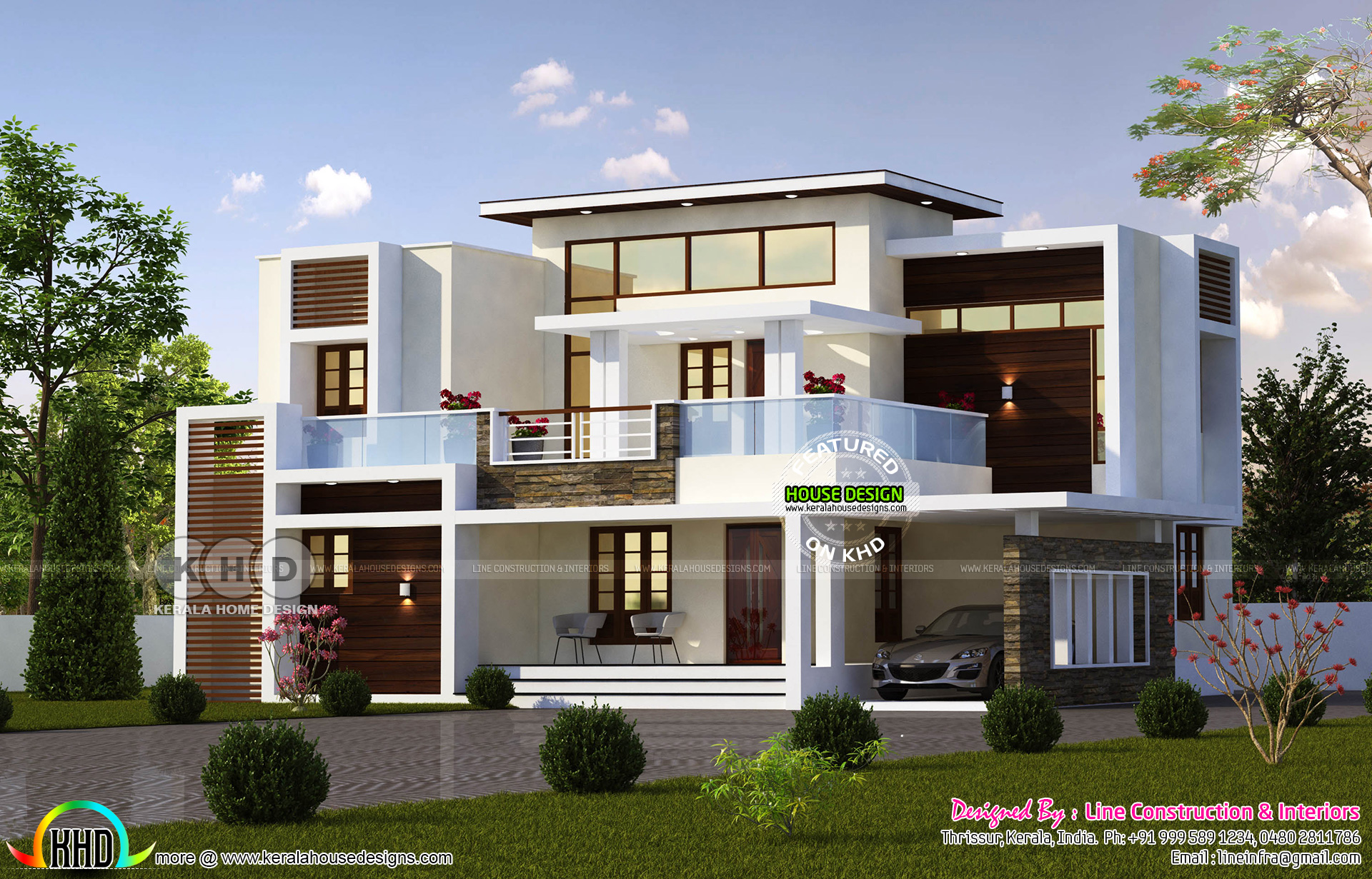 2206 square feet contemporary 4 bedroom home - Kerala home ...
